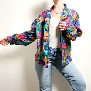 Vintage Hawaiian Graphic Floral Button Up Blouse